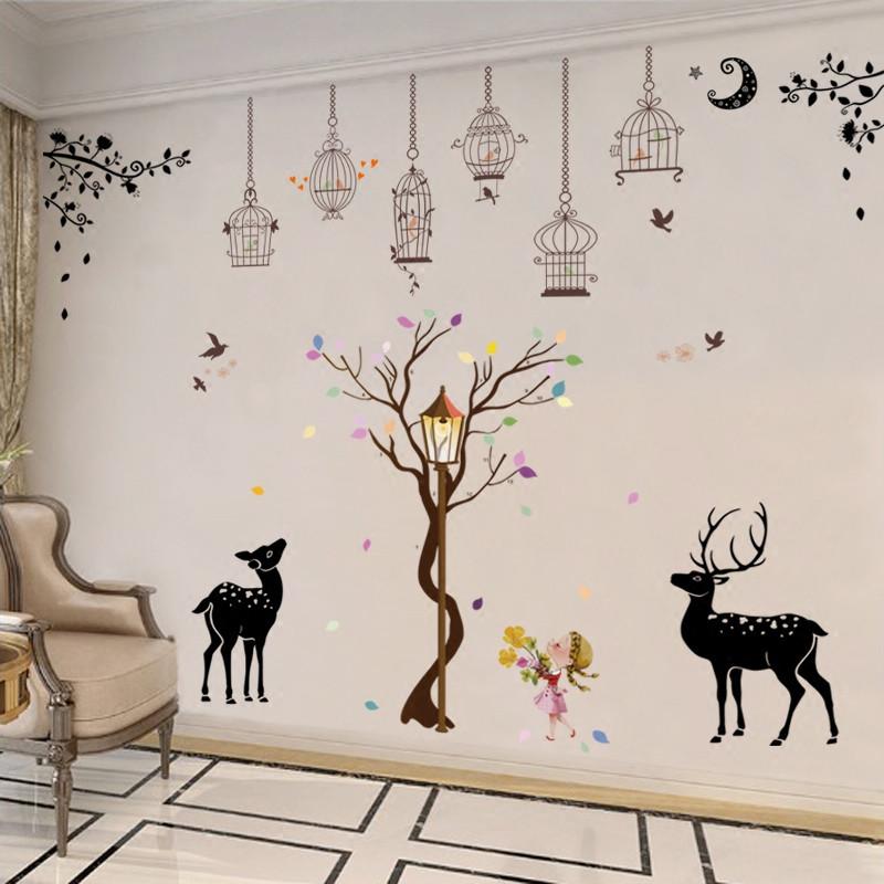 客厅卧室墙贴画宿舍走廊贴纸床头温馨背景墙壁纸装饰贴-黑白猫