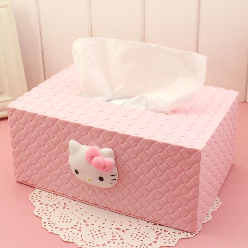 创意纸巾盒kt猫欧式卡通可爱抽纸盒塑料收纳盒桌面餐巾纸盒-粉红色图片