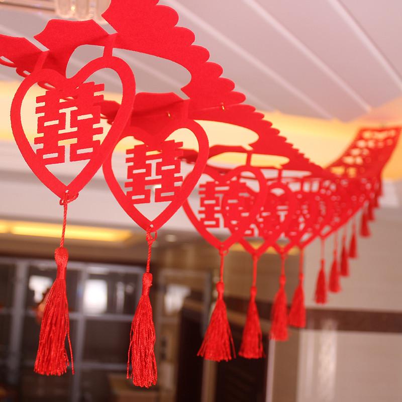 创意结婚婚庆用品客厅房间新房拉花绒布装饰彩条彩带婚房布置-花朵图片