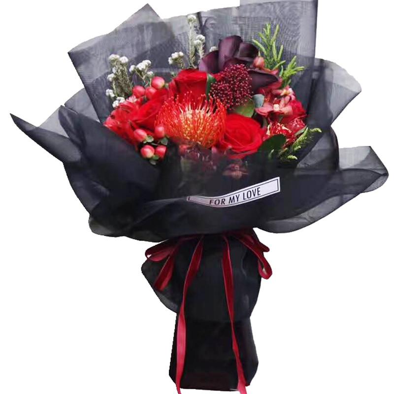 月影纱玫瑰花鲜花包装纸网纱黑纱粗格花束丝网花材料
