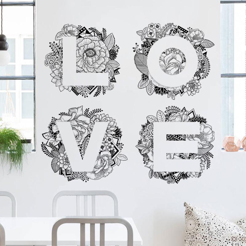 浪漫文艺贴纸手绘英文字母装饰品花卉墙贴纸简约客厅卧室床头自粘贴画