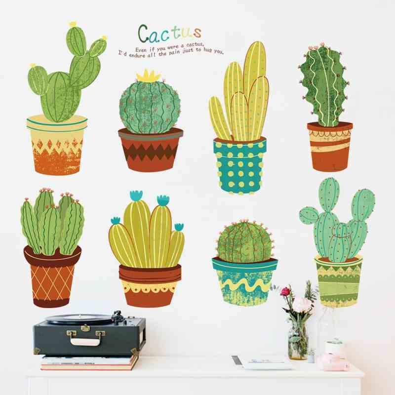 田园清新客厅沙发背景花盆墙贴纸创意餐厅走廊手绘植物盆栽贴画