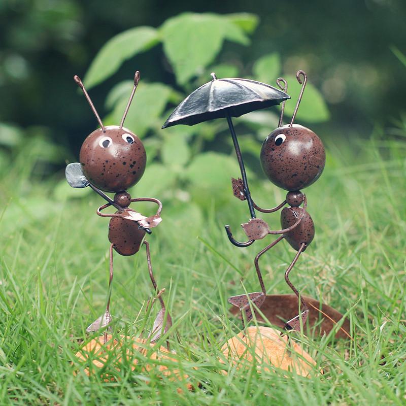 小摆件创意可爱铁艺蚂蚁家居装饰品办公室酒柜电视柜摆设-放风筝咖啡