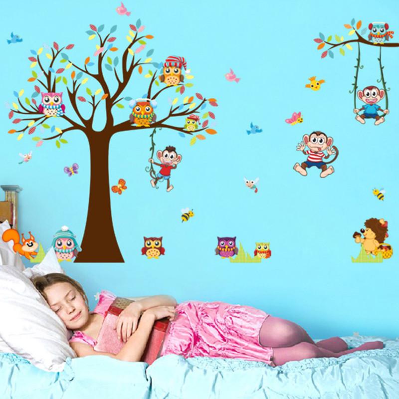 可爱小猴子大树动物卡通墙贴画宝宝卧室儿童房幼儿园装饰贴纸