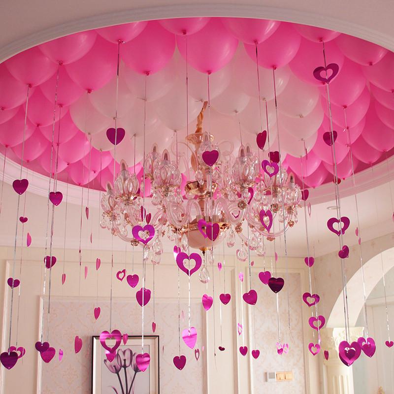 浪漫气球装饰婚庆用品婚房布置生日派对雨丝爱心吊坠气球套餐-红 粉图片