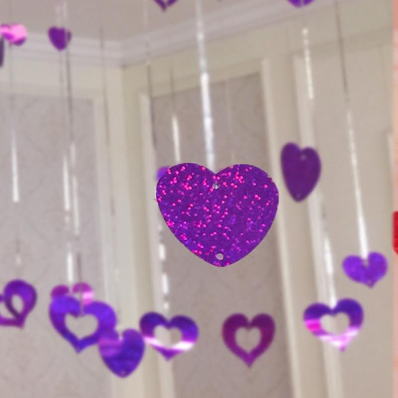 浪漫气球装饰婚庆用品婚房布置生日派对雨丝爱心吊坠气球套餐-深紫图片