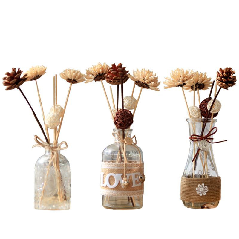 干花卉花束永生花松果仿真假花瓶整体花艺拍摄花装饰品摆件花-褐色