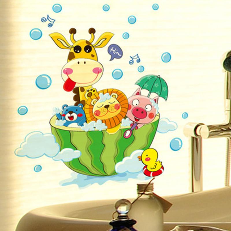 卫生间浴室贴画厕所窗户卡通墙贴儿童房幼儿园墙贴画-06 爱洗澡的娃娃