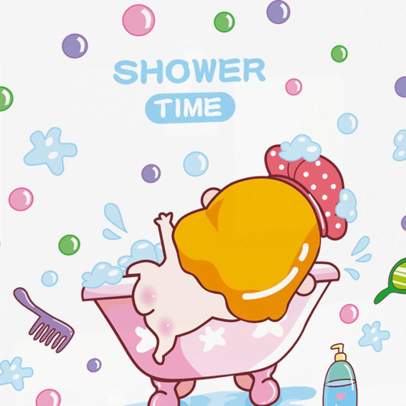 瓷砖贴纸卫生间浴室贴画厕所窗户卡通墙贴儿童房幼儿园墙贴画-07 刷牙
