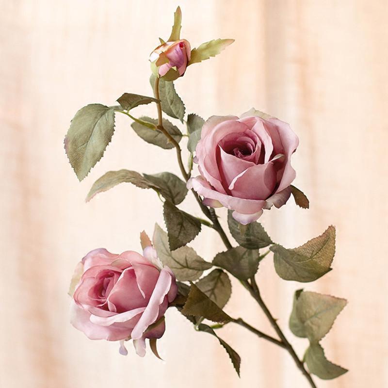 玫瑰假花客厅花束仿真花摆件欧式室内装饰花假花绢花玫瑰花-浅橘黄
