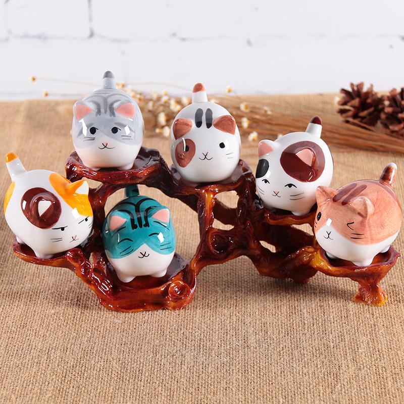 萌系猫咪陶瓷摆件办公桌卡通动物家居饰品创意女男生日礼物-小肥猫