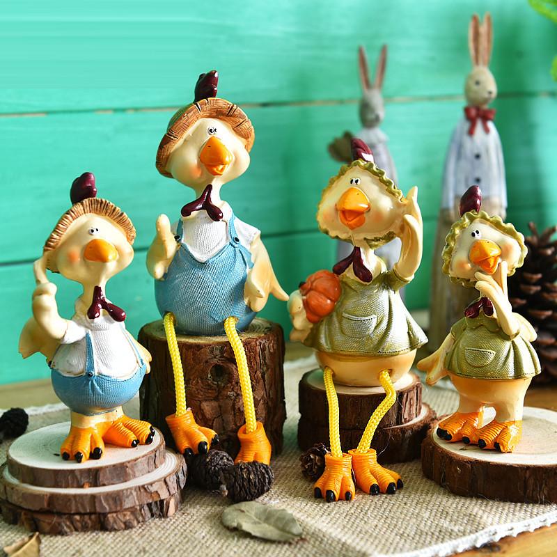 卡通小鸡可爱摆设乡村田园风摆件客厅电视柜动物装饰摆件-蛋壳一对(不