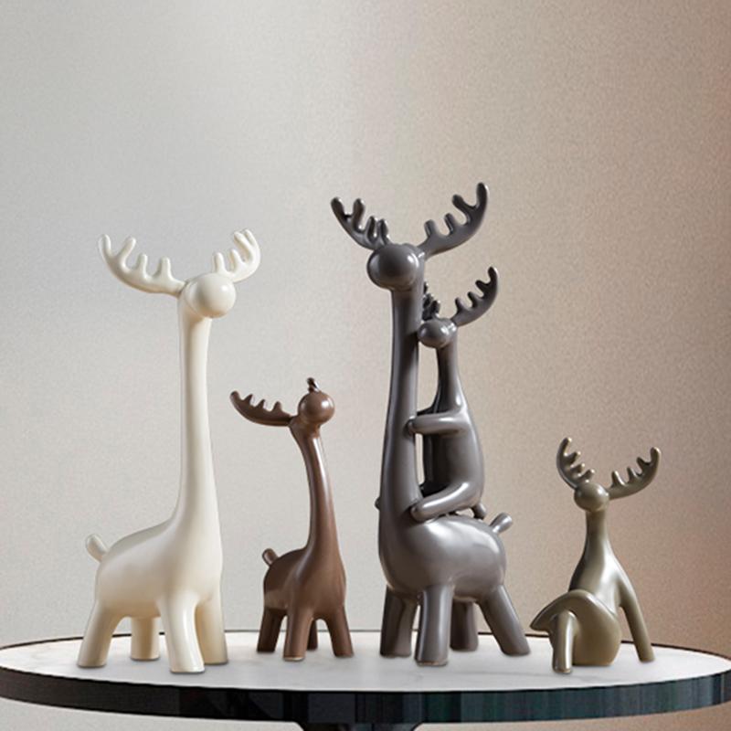 北欧风格小鹿陶瓷摆件酒柜装饰品家居饰品客厅摆饰工艺品创意软装图片