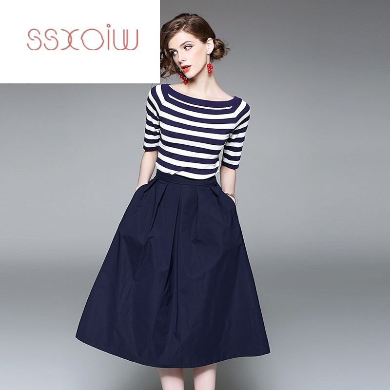 ssxoiw夏季横条纹针织衫短袖t恤中长款a字套装裙时尚两件套连衣裙长裙图片