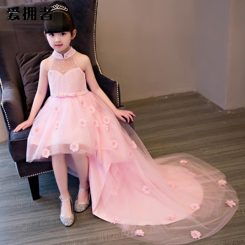 爱拥者女童生日晚礼服公主裙拖尾大童儿童婚纱花童钢琴走秀演出服粉色图片