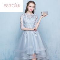 衣裙和SSXOIW新款花童拖尾礼服镶钻一字肩儿