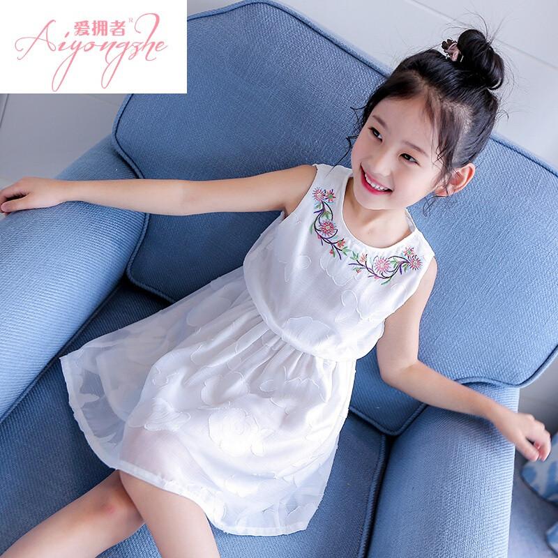 成人与小孩作爱女人与小孩_爱拥者2017新款中大童夏装女童装儿童公主裙子韩版小学生女孩白色