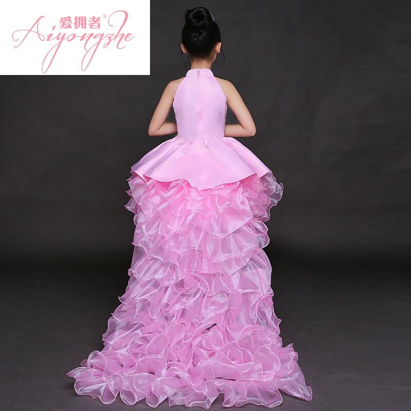 爱拥者儿童晚礼服模特走秀演出服女童礼服表演服公主裙蓬蓬裙长拖尾粉