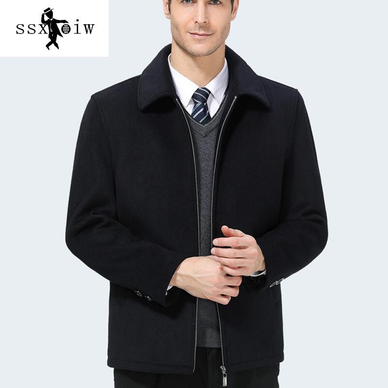 ssxoiw中年男士羊毛夹克中老年人毛呢外套秋冬加厚款爸爸装短款呢子