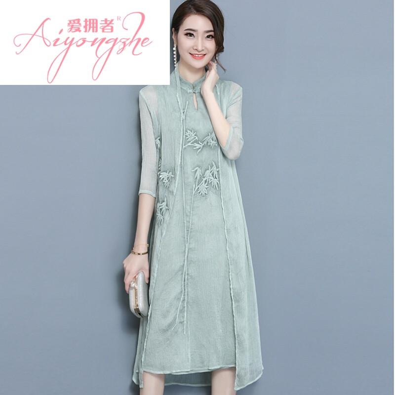 ssxoiw夏新款手绘青竹文艺复古中国风连衣裙七分袖披肩两件套装套裙浅
