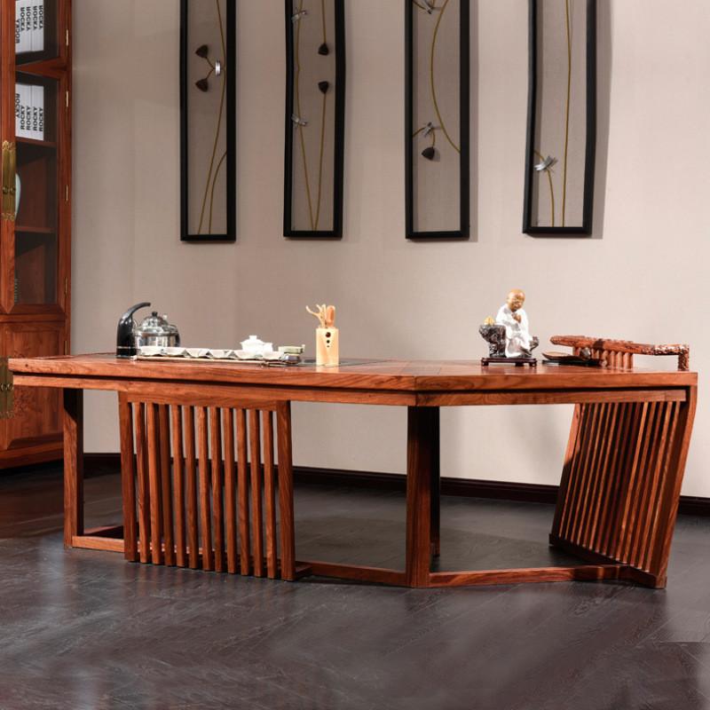 摩纳小镇 新中式红木茶水桌茶台餐桌餐椅刺猬紫檀组合