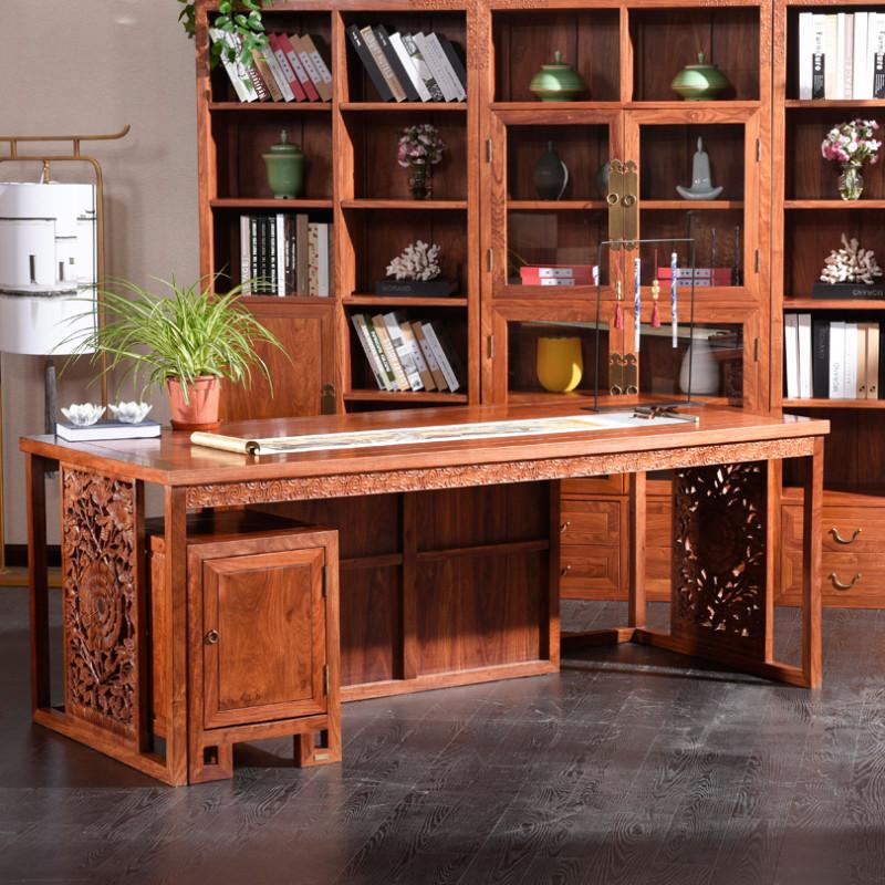 摩纳小镇 新中式红木书桌 刺猬紫檀实木办公桌 办公写字台书房大班台