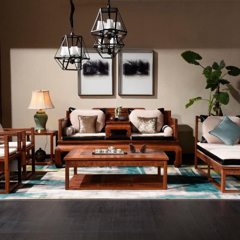龙森家具 新中式红木沙发 刺猬紫檀实木罗汉床 明清古典客厅贵妃椅