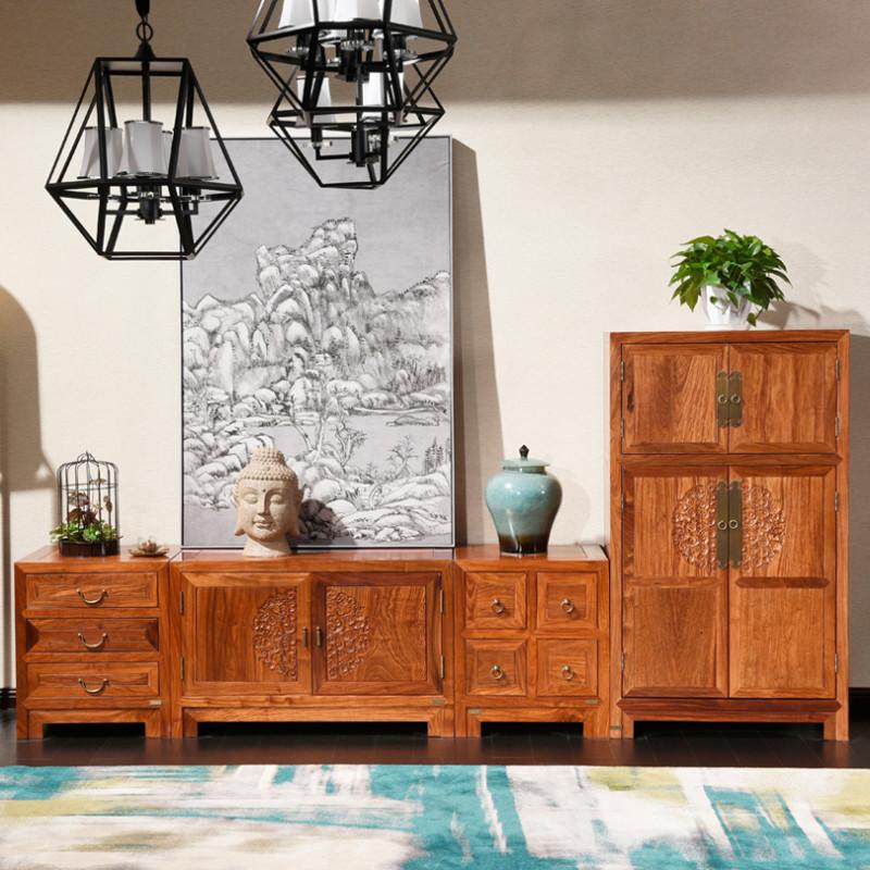 龙森家具 新中式红木电视柜刺猬紫檀组合客厅储物试听