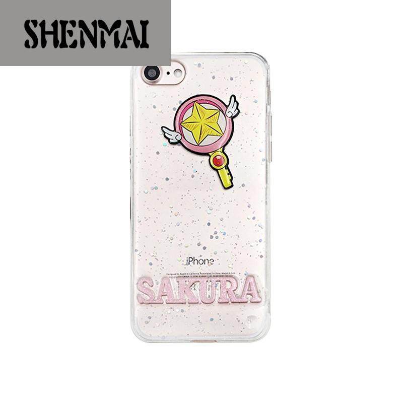 shm品牌创意卡通可爱猫爪美少女iphone7手机壳苹果7plus闪粉透明6s软