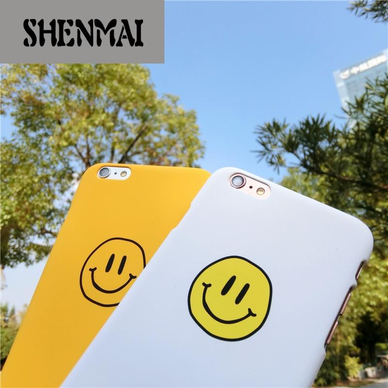 shm品牌小清新笑脸iphone6s手机壳韩国简约手绘苹果7plus磨砂个性情侣