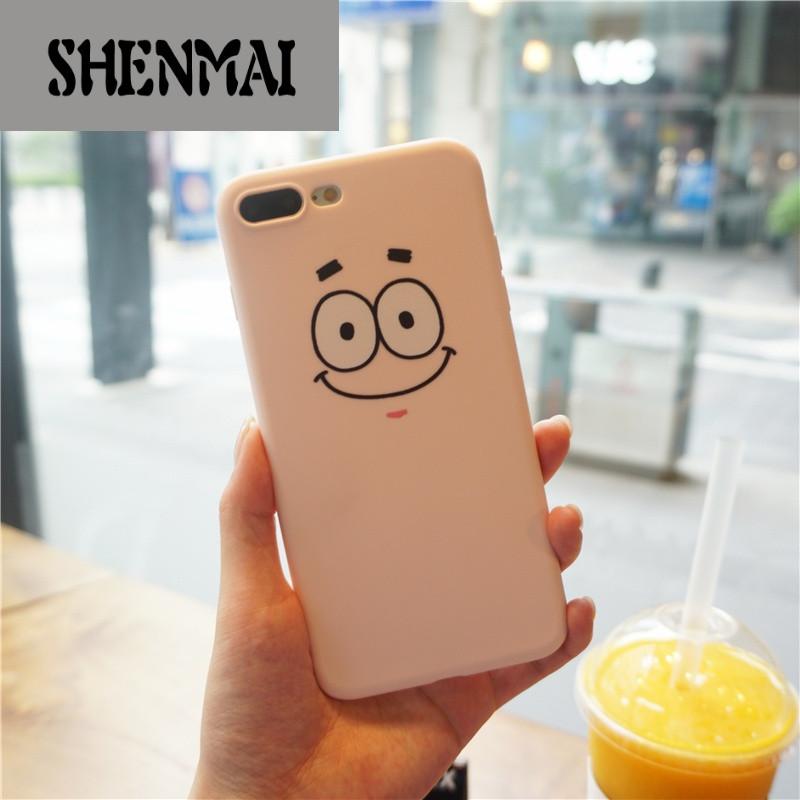 shm品牌韩国可爱傲娇脸蛋iphone7 plus手机壳派大星呆萌卡通粉色6s