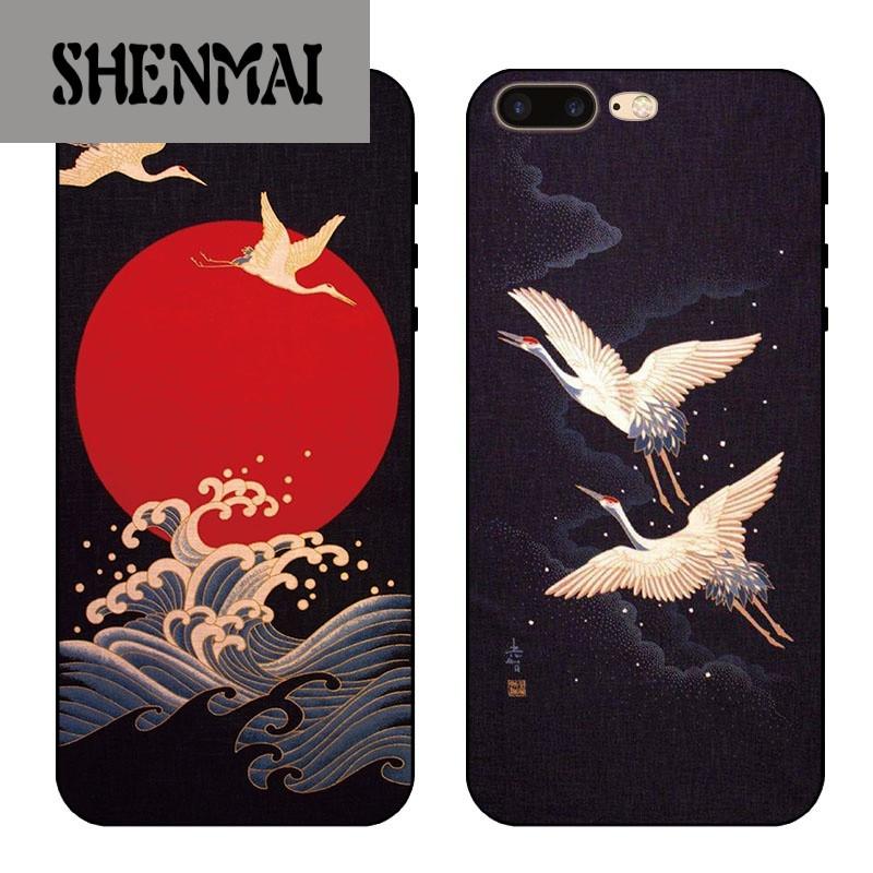 shm品牌iphone7苹果6s手机壳6plus硅胶全包软壳5s日式和风浮雕仙鹤8x