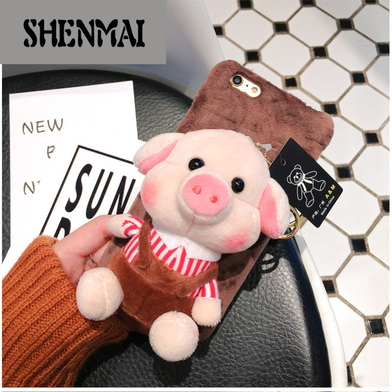 shm品牌新款毛绒小猪iphonex手机壳6splus保护套苹果7立体可爱卡通猪8