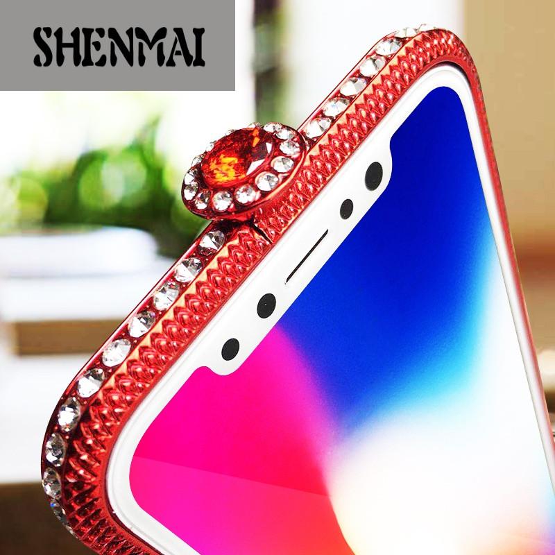 shm品牌新款闪耀水钻边框x苹果7plus手机壳iphone7镶钻金属外套防摔8