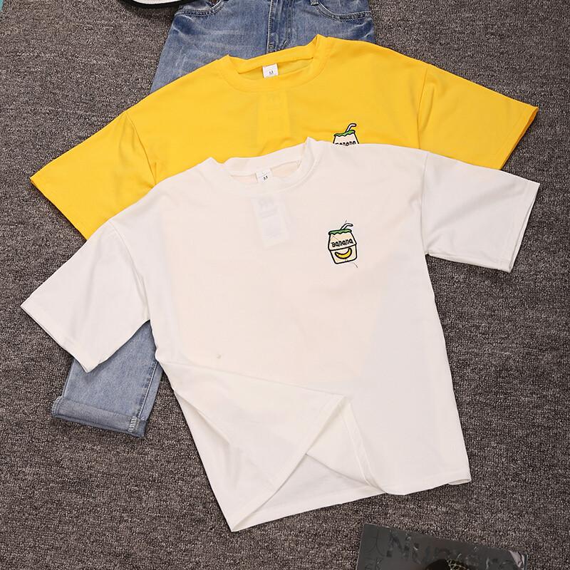 纤曼悠韩版新款绣花刺绣图案短袖t恤衫夏季学生宽松百搭打底衫体恤潮