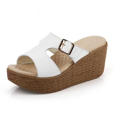 2019新款涼鞋女坡跟涼拖魚嘴厚底高跟拖鞋防水臺女鞋 多色可選中跟(3-5厘米)豆樂奇高跟鞋