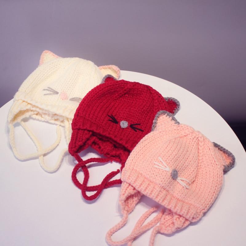 婴幼儿帽子春秋宝宝帽子毛线套头帽3-6-12个月胎男女婴儿童针织帽