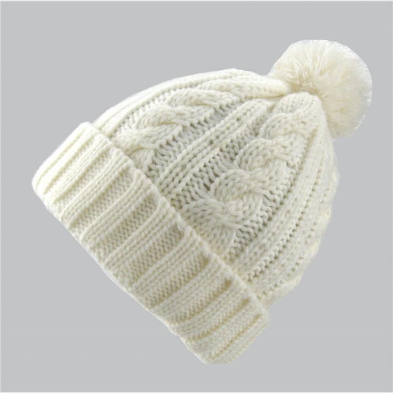 儿童帽子男女童护耳毛线帽秋冬宝宝针织麻花球球翻边套头帽
