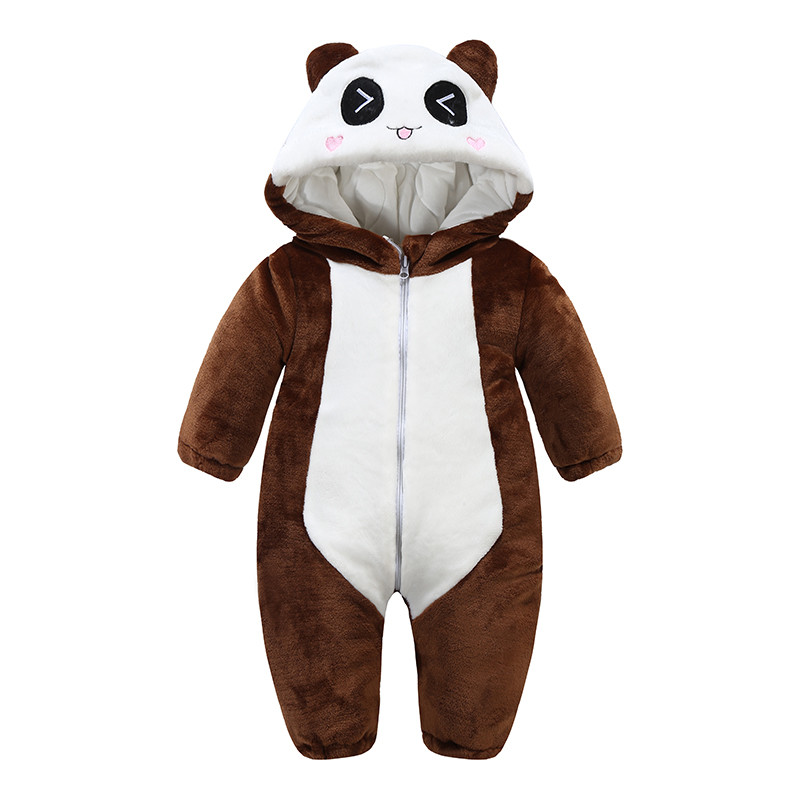 新款婴儿连体衣冬季加厚棉衣0-1-3岁男童动物外出爬爬服女宝宝秋冬装