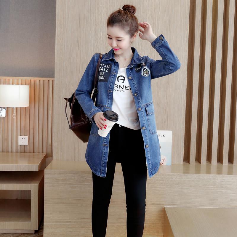 2017秋季装新款女装韩版修身显瘦牛仔外套女中长款bf长袖牛仔衣潮图片