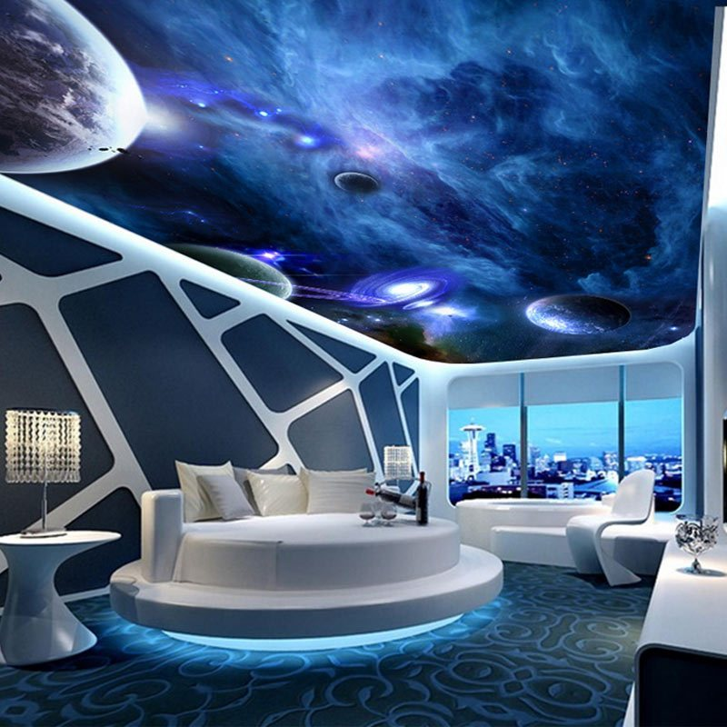 維宇宙星空天花板吊頂壁紙客廳臥室ktv包房屋頂房頂墻紙墻布裝飾畫