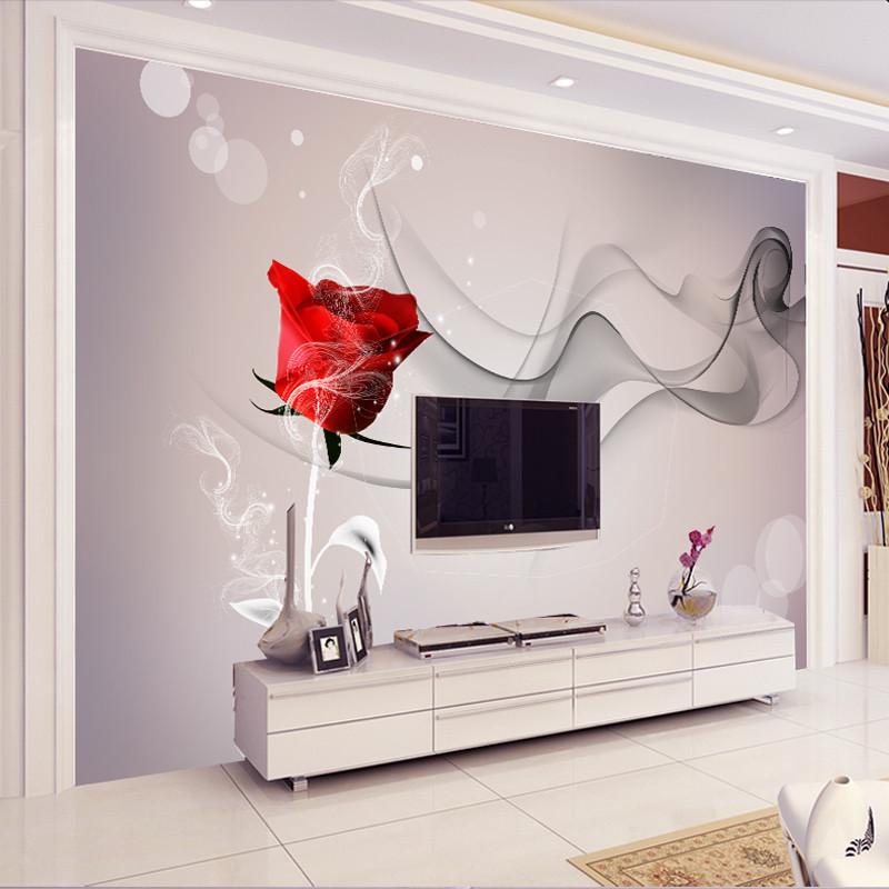 塞拉维现代简约客厅沙发电视背景墙 烟雾玫瑰墙纸墙布