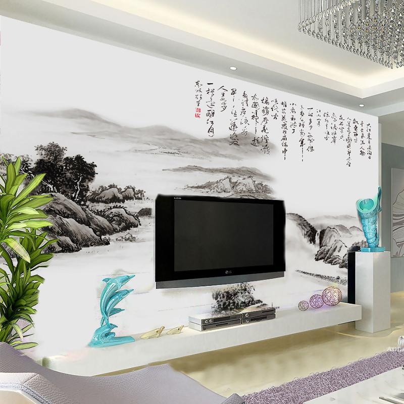 塞拉维水墨山水画客厅电视墙纸国画书法影视墙壁纸沙发墙布无缝定制