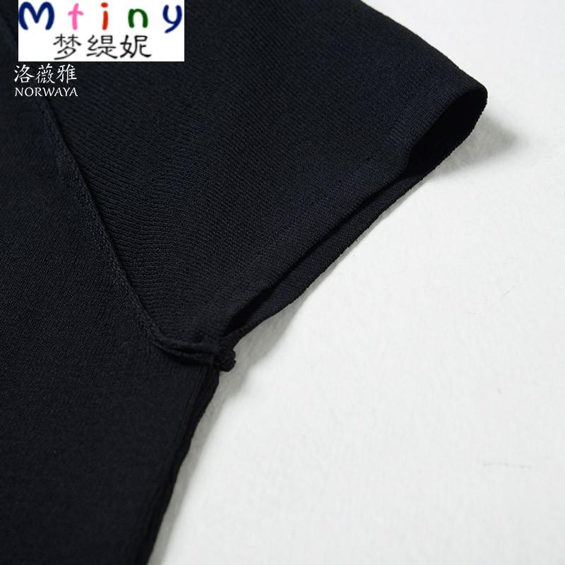 mtiny夏季薄款半高领黑色短袖针织衫女套头宽松天丝打底衫