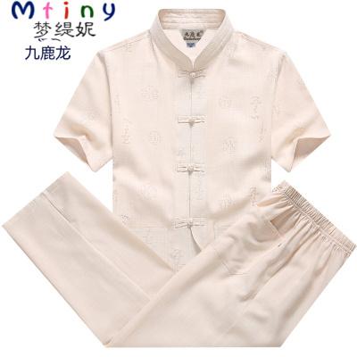 Mtiny中老年唐裝男短袖中式老人夏季棉麻套裝男士爸爸裝亞麻爺爺裝夏裝