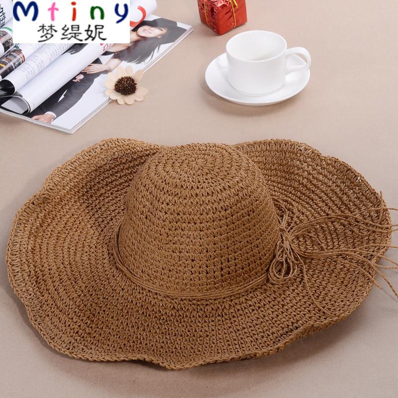 mtiny可折叠手工编帽大沿草帽沙滩帽大檐帽防晒太阳帽