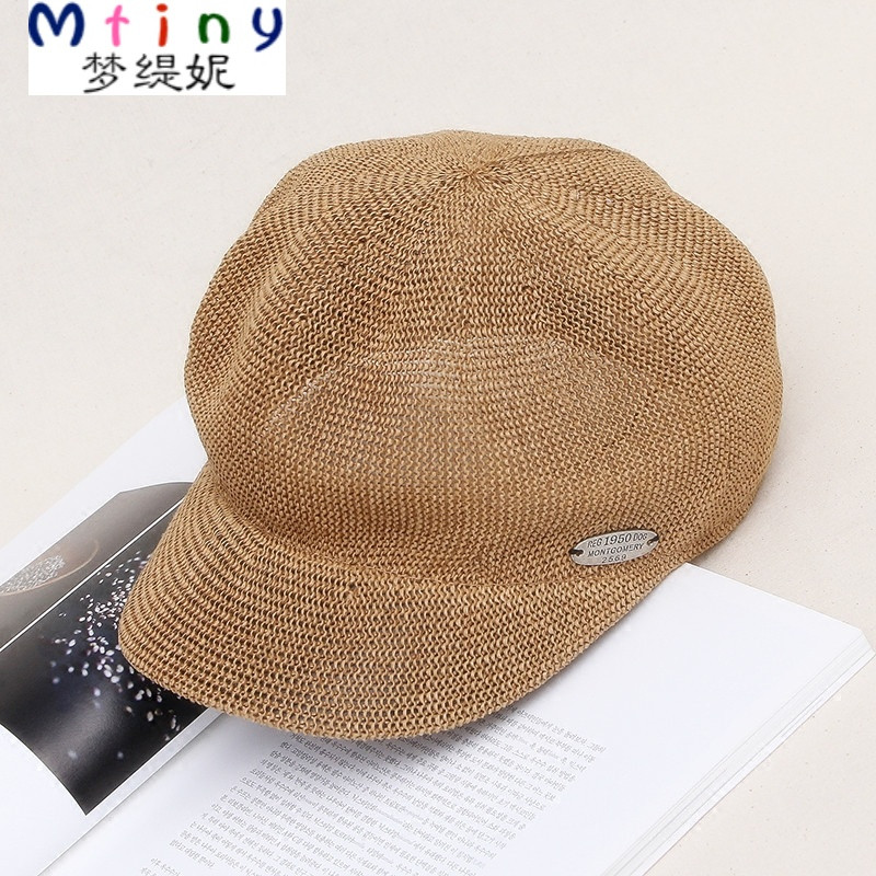 mtiny2017夏卡其草编帽子女式帽子报童帽八角帽 画家贝雷鸭舌凉帽包邮