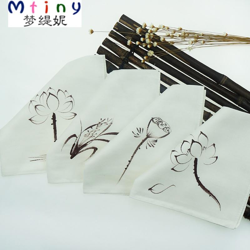 mtiny中国风复古风手绘棉麻手绢方巾古风纯棉手帕特色