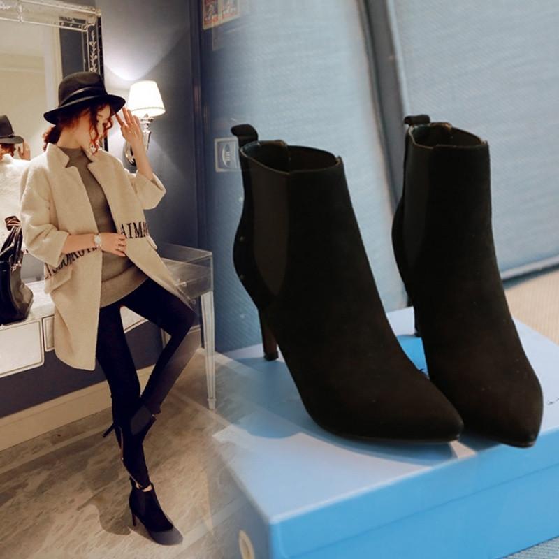 107款】短靴女2017新款百搭中跟及踝靴子冬天的高跟鞋