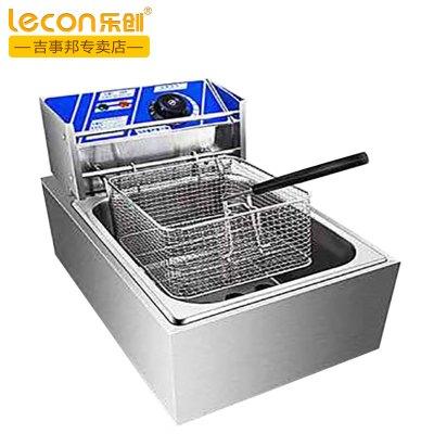 lecon/乐创6L单缸 加厚商用单缸单筛电炸炉油炸锅炸薯条机炸鸡炉油炸机不锈钢油锅机